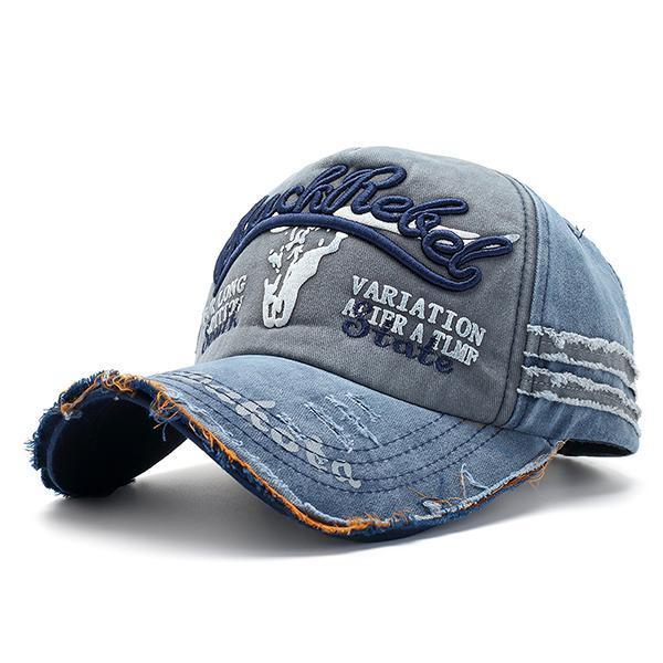 612e334c912 Men Women Washed Cotton Baseball Cap Tattered Adjustable Summer Visor Cap