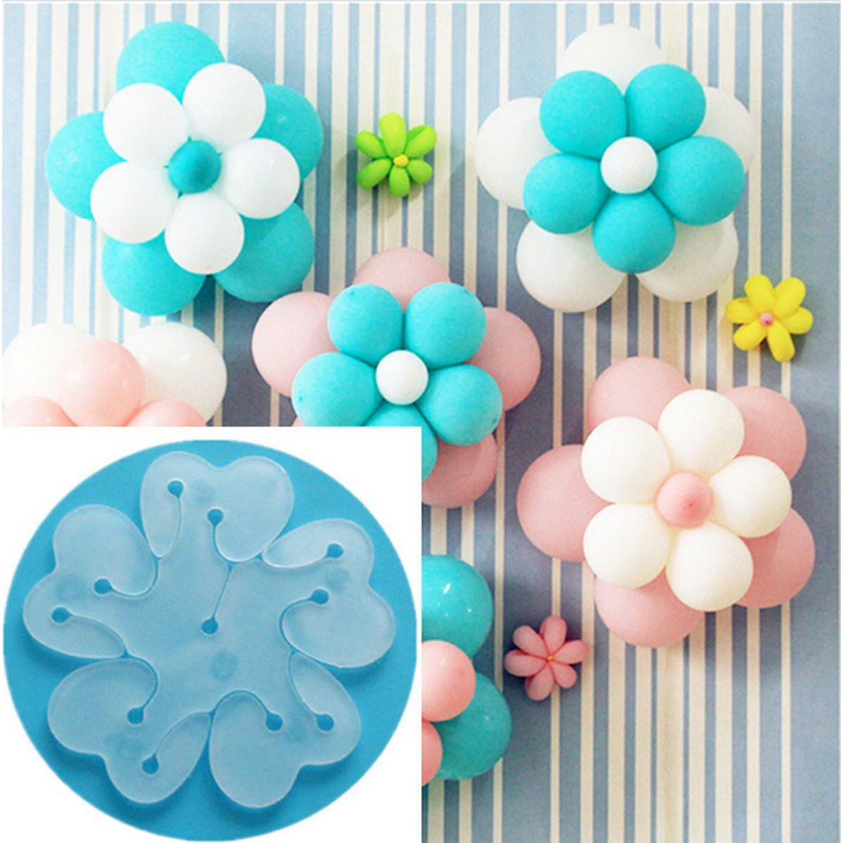 Pack of 6pcs Balloon Flower Clips -Original Packing Plastic Flower Balloon Clips Closures - Make Flower Design Balloon for Wedding Birthday Party Holiday Decoration.