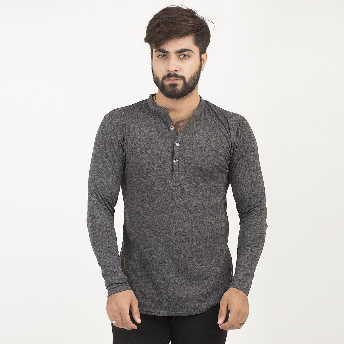Full Sleeves Plain Charcoal Kurti Style Tshirt For Men