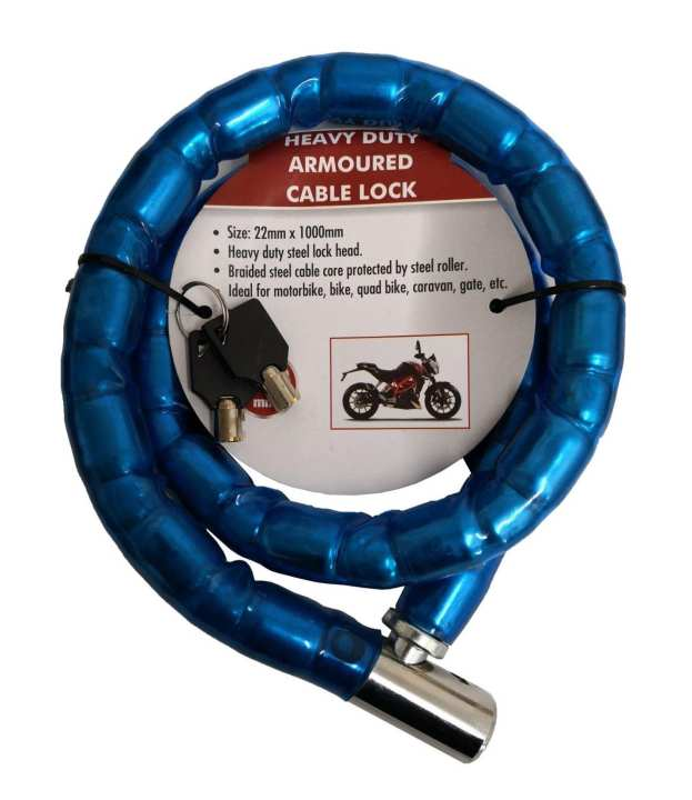 """Python"" Bike Solid Chain Wheel Lock in Blue Color"