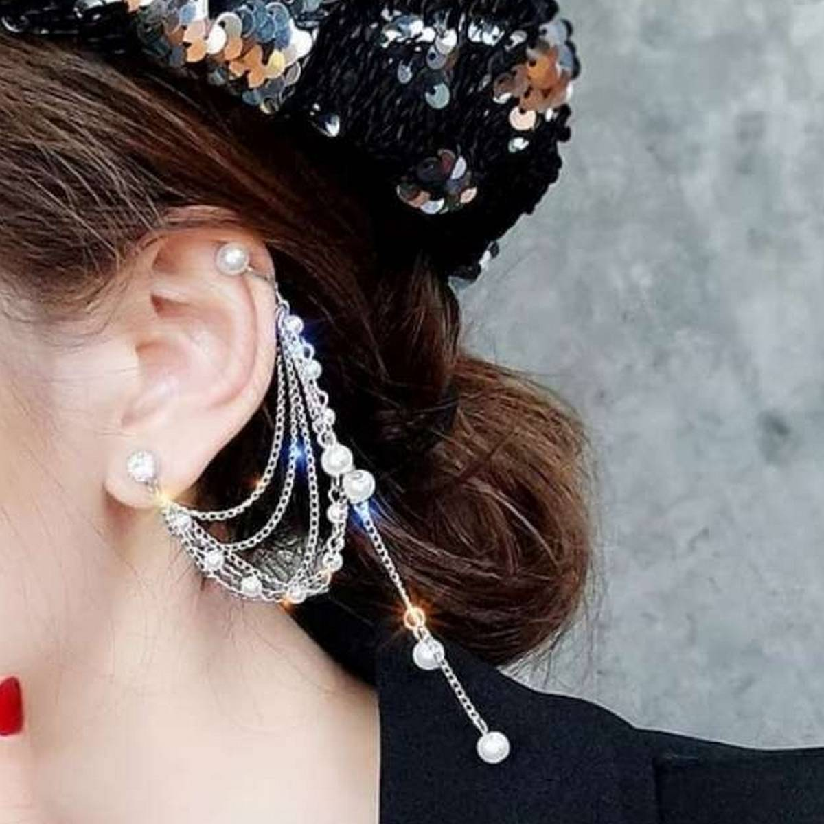 1 pc New Earcuff Fashion Brincos Personality Imitation Pearl Style Ear Chain Tassel Long Temperament Earrings