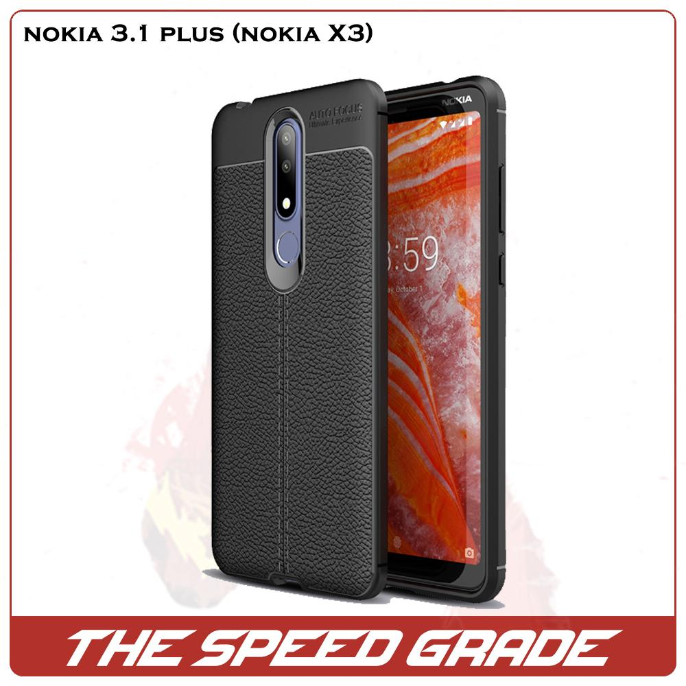 Nokia 3.1 Plus (Nokia X3) Litchi Pattern Soft Silicon Back Cover