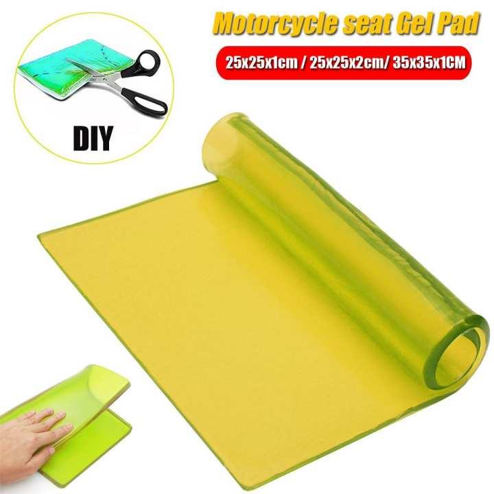 25x25x1cm Motorcycle Seat Gel Pad Shock Absorption Mats Polyurethane Elastic Fiber Cushion Yellow