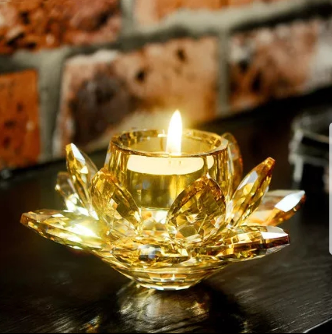 Crystal Glass Block  Candle Holders Feng Shui Home Decor Big Tealight Candle Stand Holder Candlesticks
