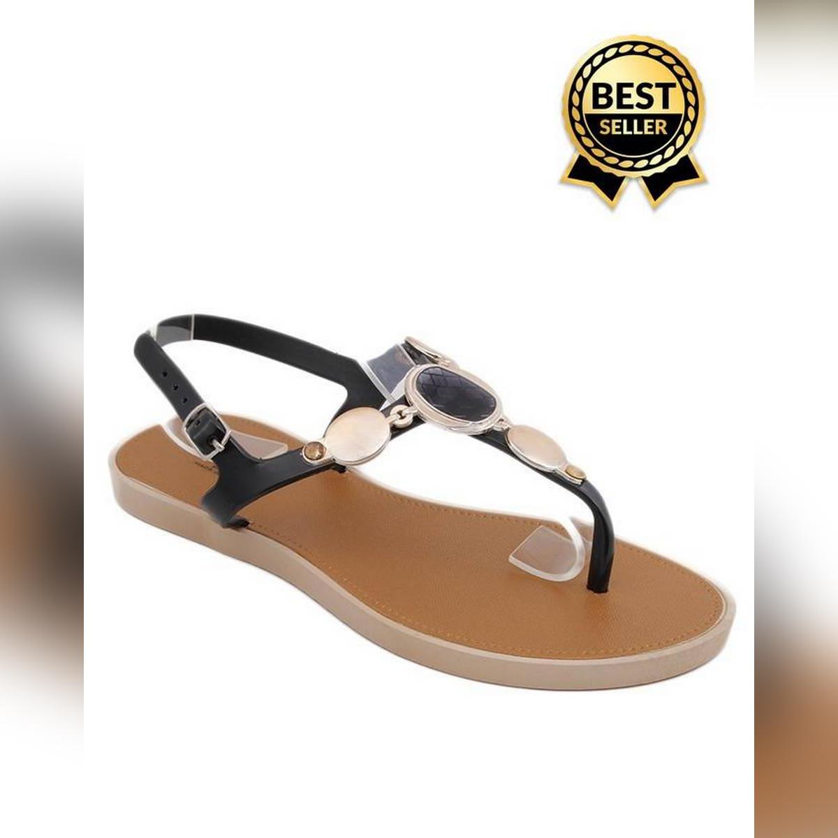 Black Imported Italian Design Fancy Sandal For Women - D08