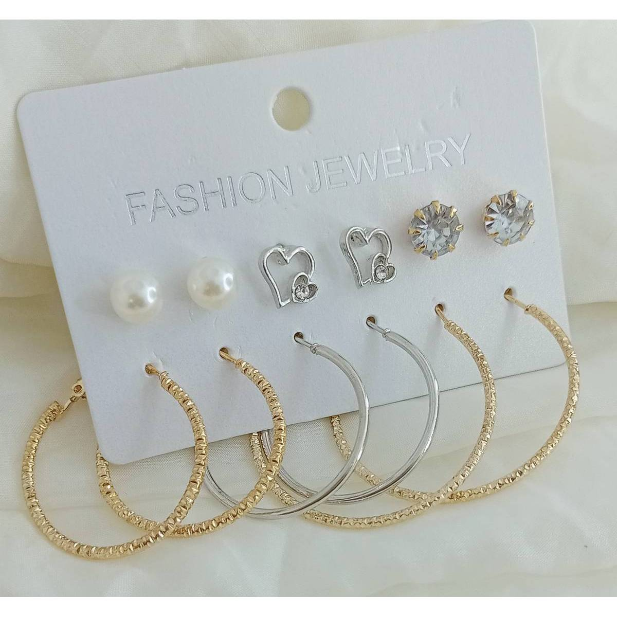 Fashionable 6 pairs/sets Hoop Earring Stud Earring Fashion For Women Girl Jewelry Earring ( 3 Bali & 3 Tops )