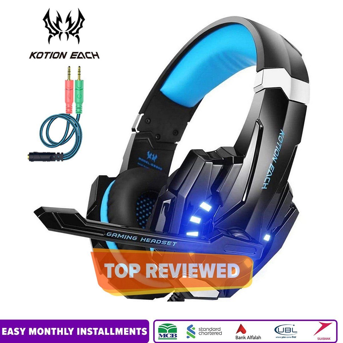 Kotion Each G9000 Stereo Gaming Headset for PS4, PC, Xbox One Controller, Noise Cancelling Over Ear Headphones with Mic, LED Light, Bass Surround, Soft Memory Earmuffs for Laptop - Blue