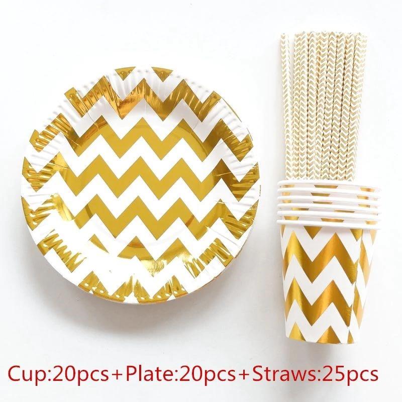 65pcs/set 20 People Party Paper Plates Cups Straws Disposable Tableware Stripe Theme Party Wedding Decoration