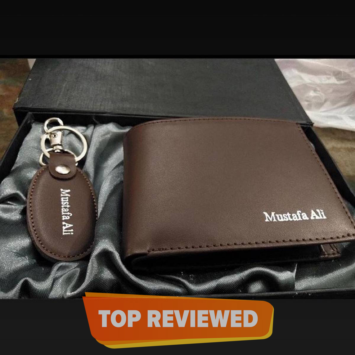 CUSTOMIZE NAME ON MEN WALLET AND KEY CHAINS WITH BOX PACKING (PERFECT GIFT TO SEND YOUR FATHER , HUSBAND , FIANCE OR ANY ONE)