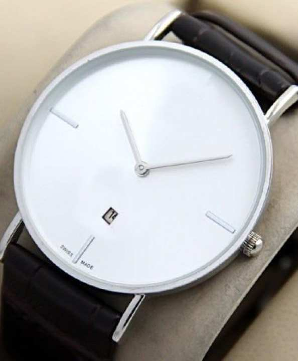 Black strap white dial analog watch
