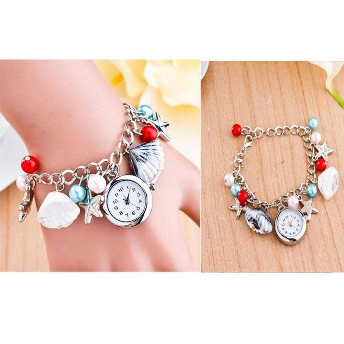 Silver Chain Multi Bracelet watch with free Box