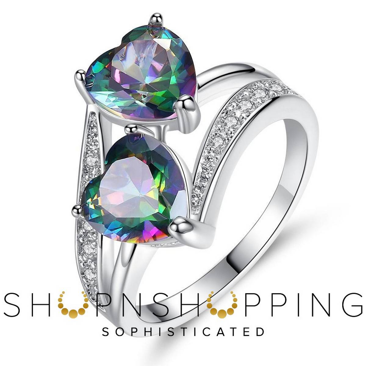 Imported High Quality Engagement Silver Plated Colorful Blue Double Heart Rings for Girls Women - HS-WL-R359