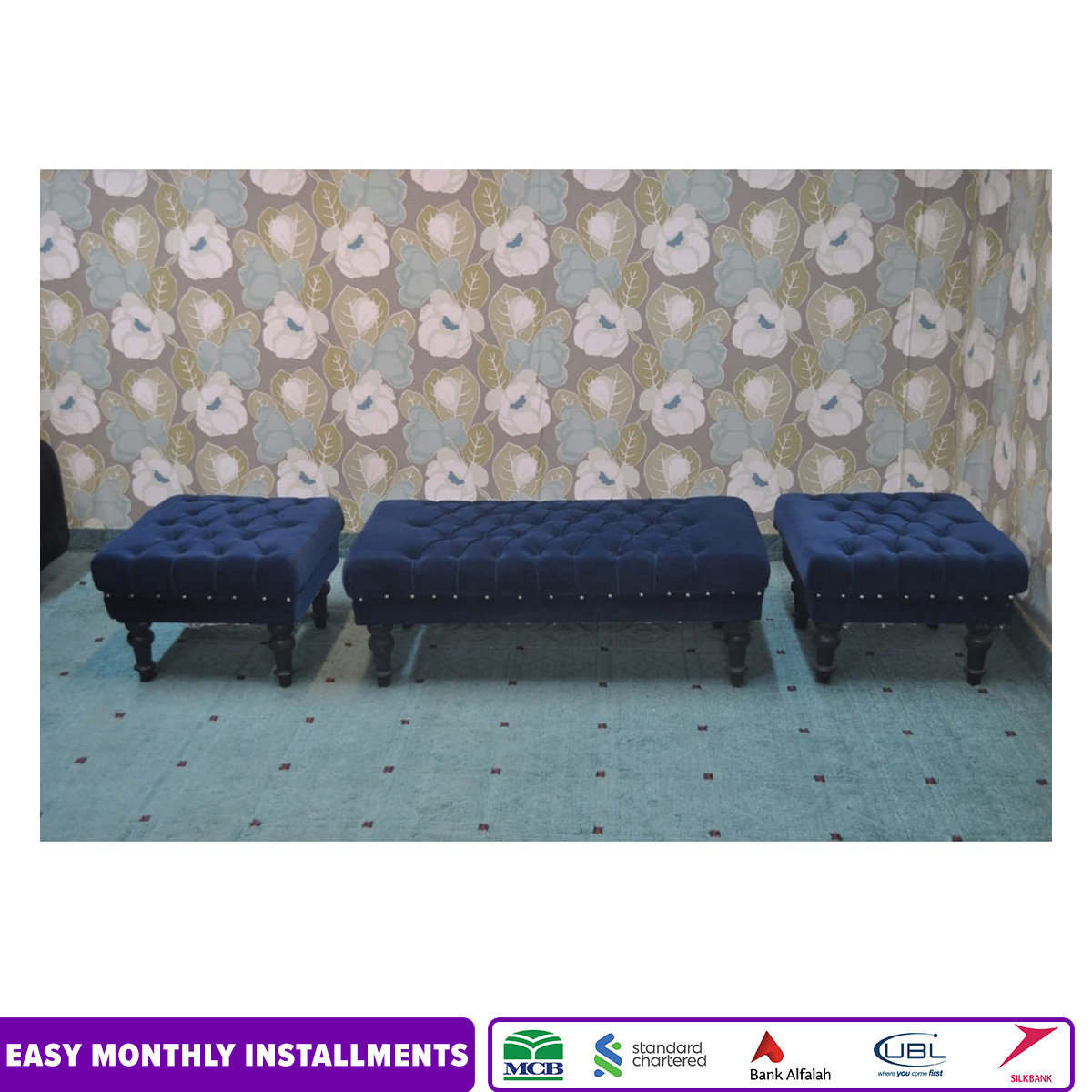 Galaxy 4 Seater Puffy Sets Fabric Blue  Valvid (Size 2 unit single seat 22x22 inches and 1 unit large 2 seater 44x22 complete set height 17 inches)