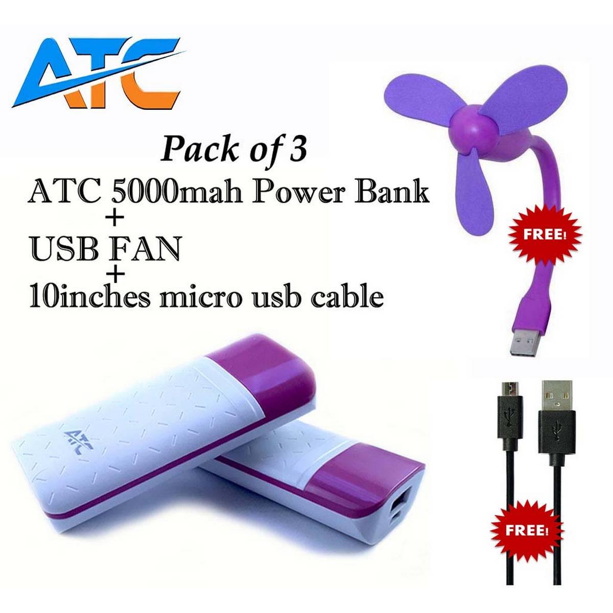ATC 5000mah Power Bank Free USB Cable  Free USB Fan | pack of 3