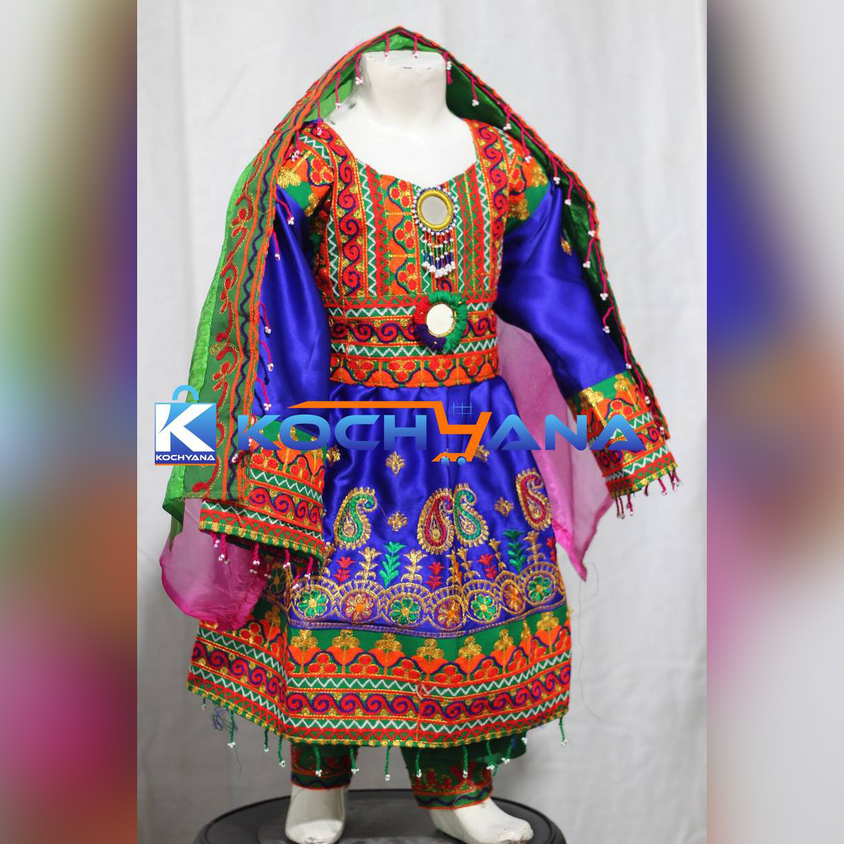 Afghani frock for kids- Traditional Frock For kids Blue