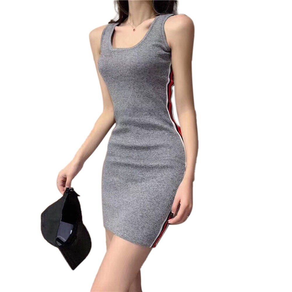 Sleeveless Dress Slim Stripe Sports Base Knitting Woman Clothing Spring and  Summer Dress: Buy Online at Best Prices in Pakistan | Daraz.pk