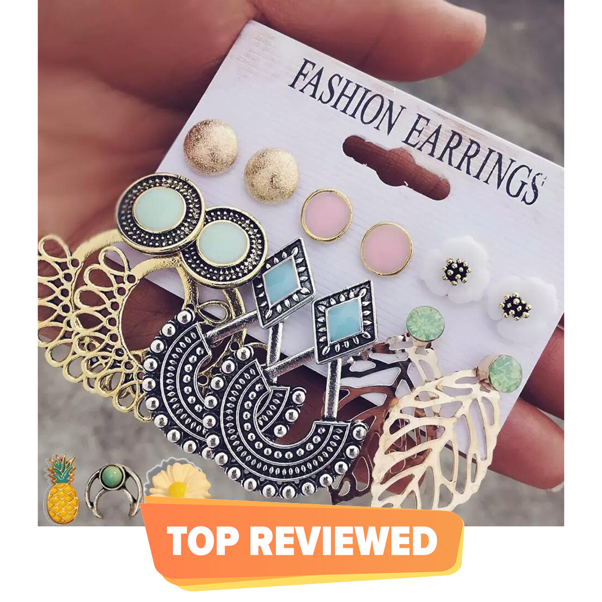 6 pairs New Fashion Stud and Drop Earrings set Mixed Pearl and Bohemian Vintage style Jewellery accessories for Women