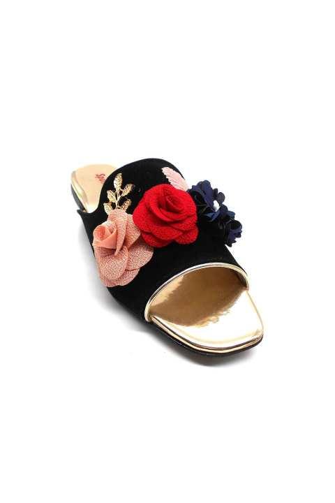 Black Flower Slipper For Women 2152/002