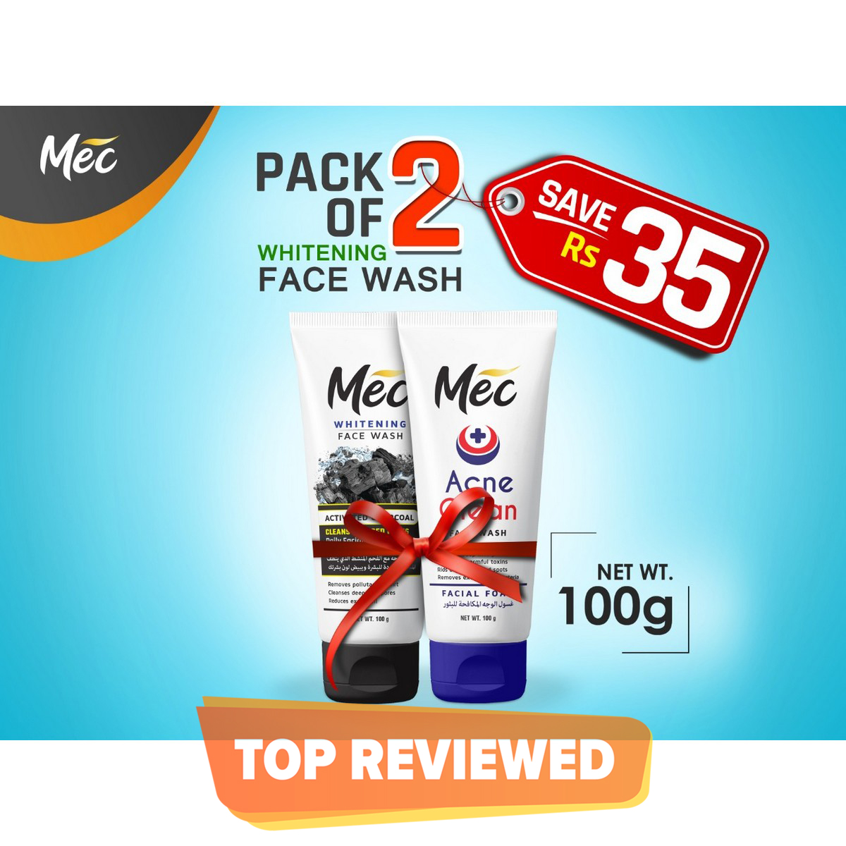 Mec Whitening Face Wash (Pack of 2) 100gm Acne Clean, Activated Charcoal