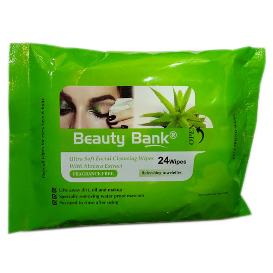 Beauty Bank Ultra Soft Facial Cleansing Wipes Makeup Removing 24 Wipes