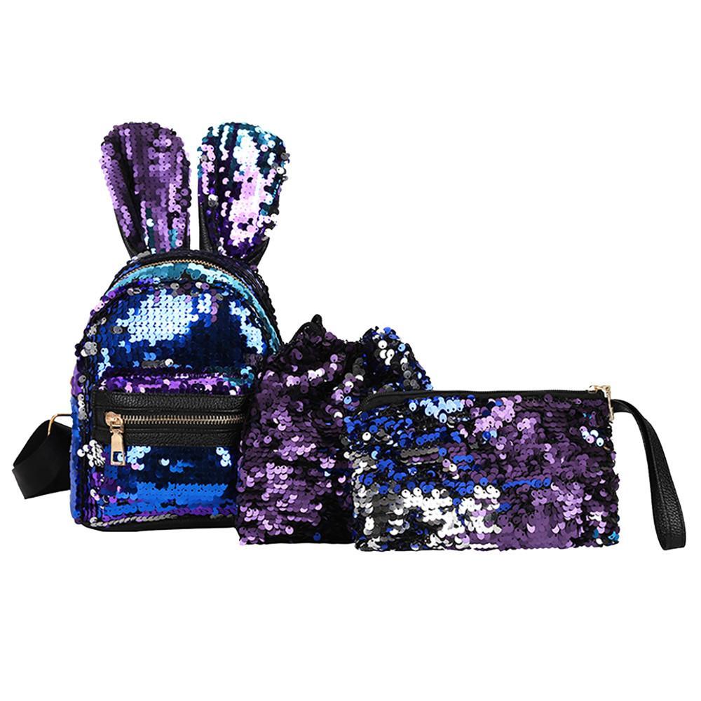 709288229c4 3Pcs Fashion Student Children Sequins Backpacks+Drawstring Bag+Messenger Bag