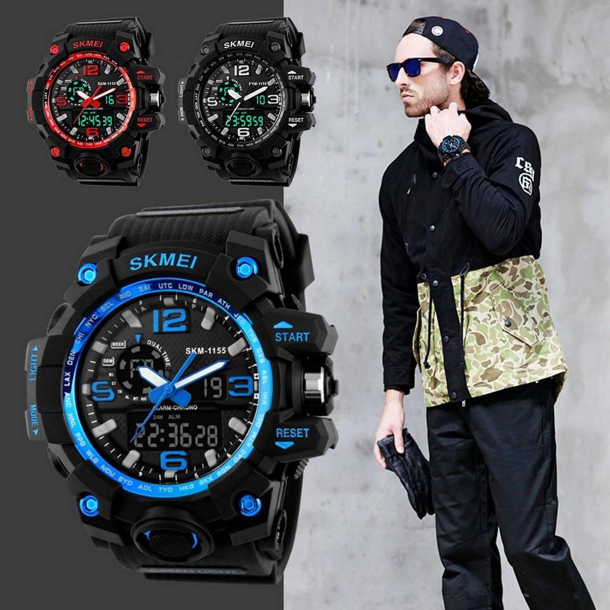 SKMEI 1155 Blue Adult Double Time Watches Wristwatch Dual Display Digital Electronic Watch 50M Waterproof Watch Luminous Sport Watch