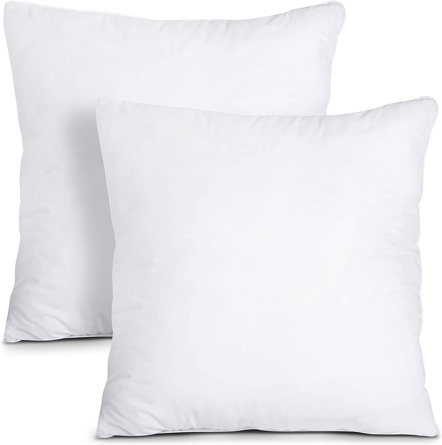 Throw Pillow Insert Pack of 2 White 18 x 18 Inches Bed and Couch Pillows Indoor Decorative Pillows