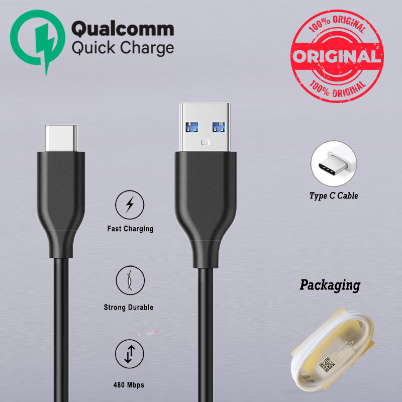 Data Cable Type C to USB Fast Charging Qualcomm Adapter Supported Type C Cable Long Lasting Black and White