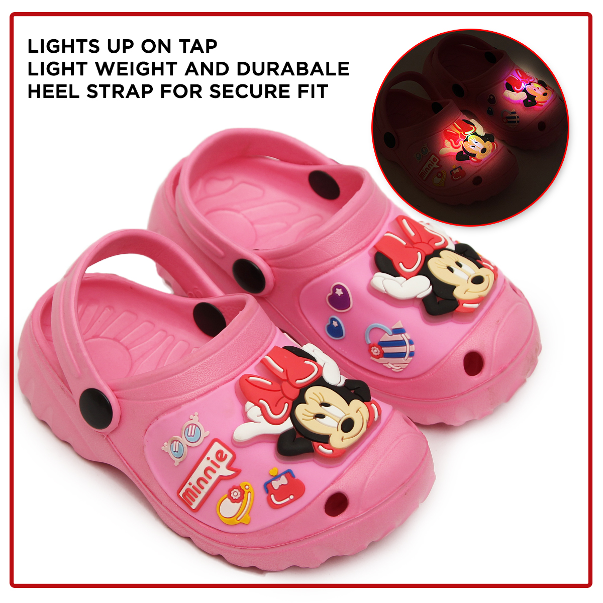 Minnie Light Up - Clog - 108 - Pink Summer Crocs Clog Slippers Sandals & Chappal For Your Kids - Non Slip Sandals Easy to Wear