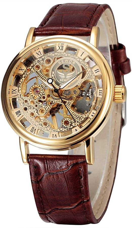 Winner Man Waterproof Mechanical Watch Roman Numeral Rhinestone Skeleton Dial Steel Wristwatch