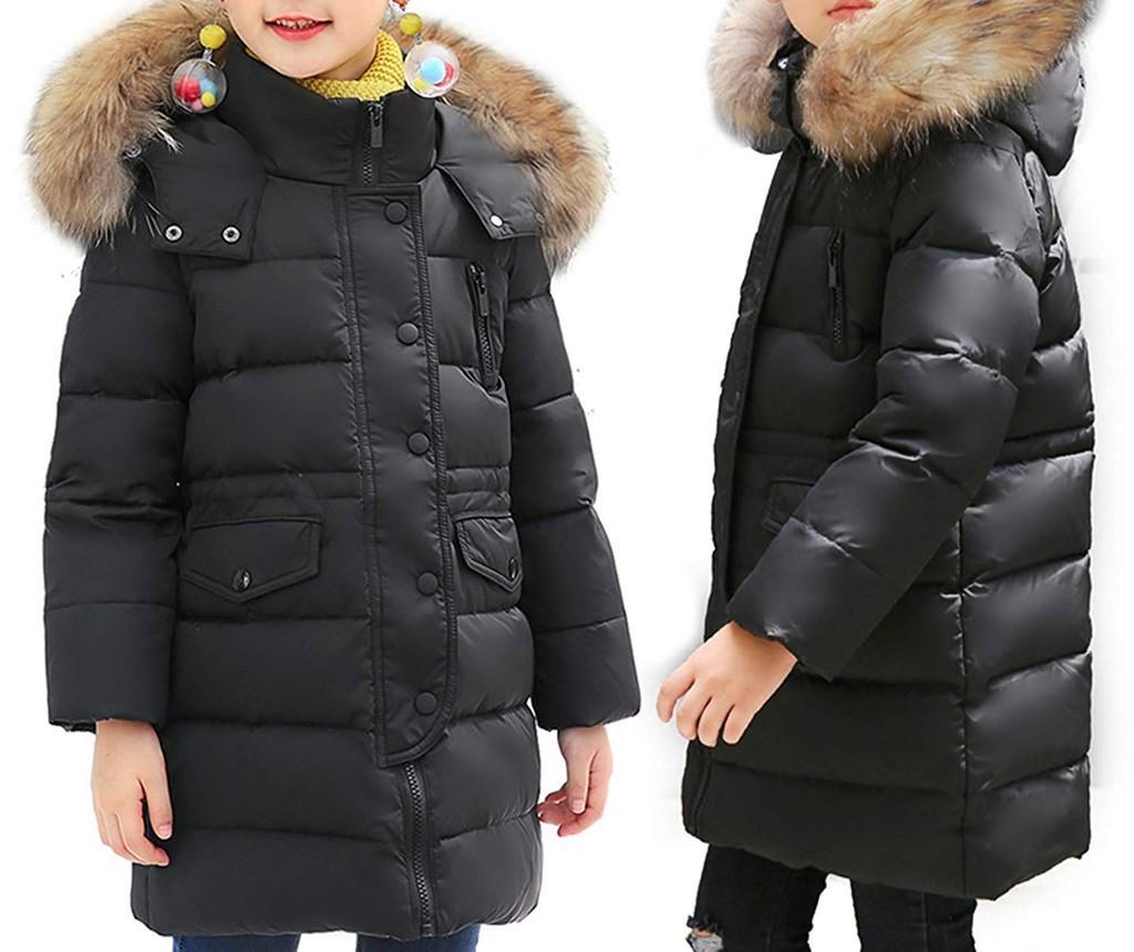 Girls Winter Down Coat Puffer Jacket White Duck Down Overcoat with Fur Hood