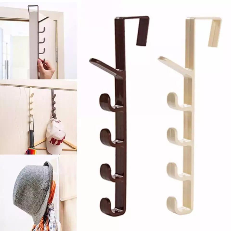 1pc Hat Clothes Bag Hanger Hook Holder Cupboard Door Kitchen Cabinet Back Style Garbage Bag Storage Rack Organizer Hanging