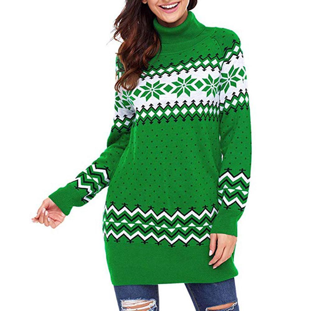 Christmas Sweater Women Ugly Snowflake Merry Xmas Mini Dress