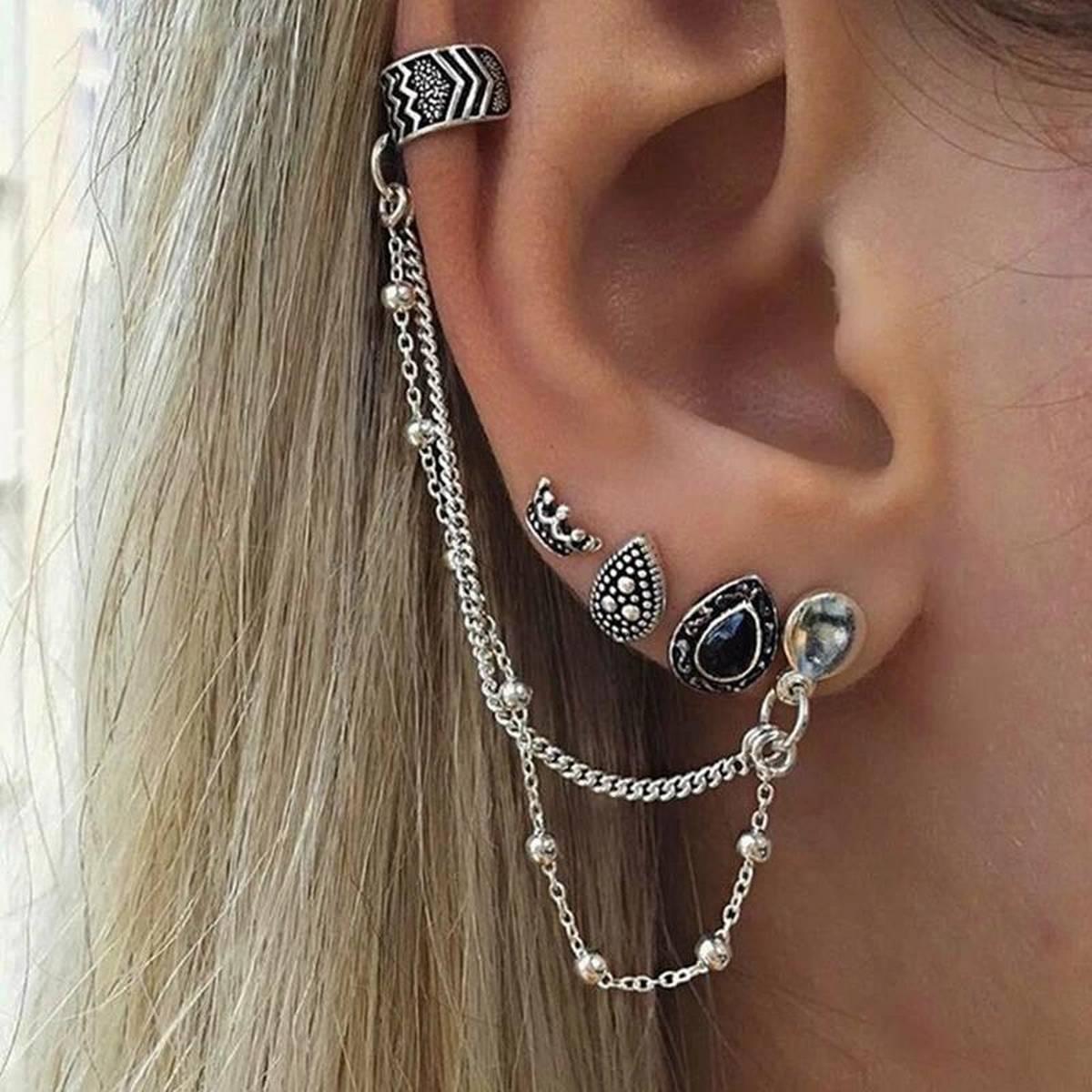 Antique Silver Chain Girls EarCuff Korean Trendy Fashion Jewellery Women Earrings - 01 Piece