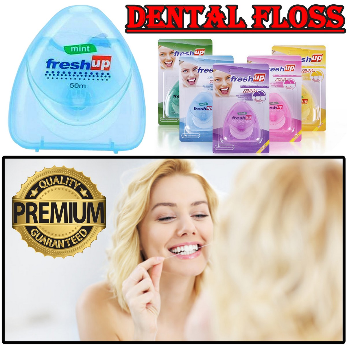 Freshup Dental Floss Micro Wax Peppermint flavor Mint Flavour Flosser Interdental Brush portable oral hygiene care Freshup flat clean teeth wire Flossier 50M Best quality floss wire