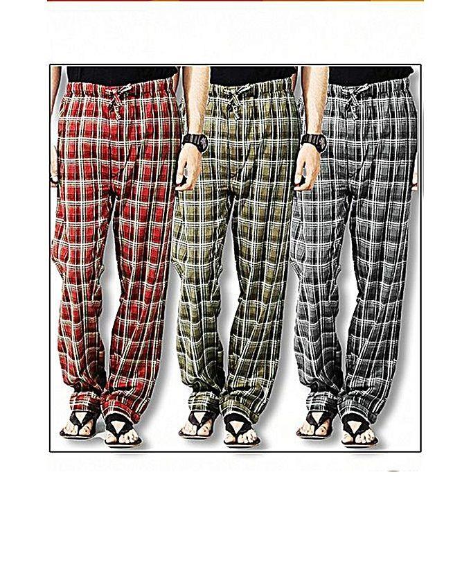 Pack Of 3 Multiolour Chekerd Trouser For Him