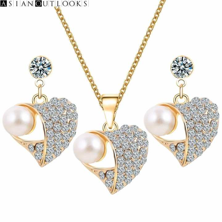 New Hot Fashion Bridal Wedding Crystal Peach Heart Pendant Chokers Necklace/Earrings Jewelry Sets For Women Simulation Pearl Jewelry