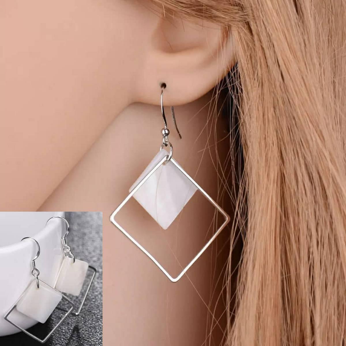 Stylish White Shellfish Square Long Earring For Girls - Pair