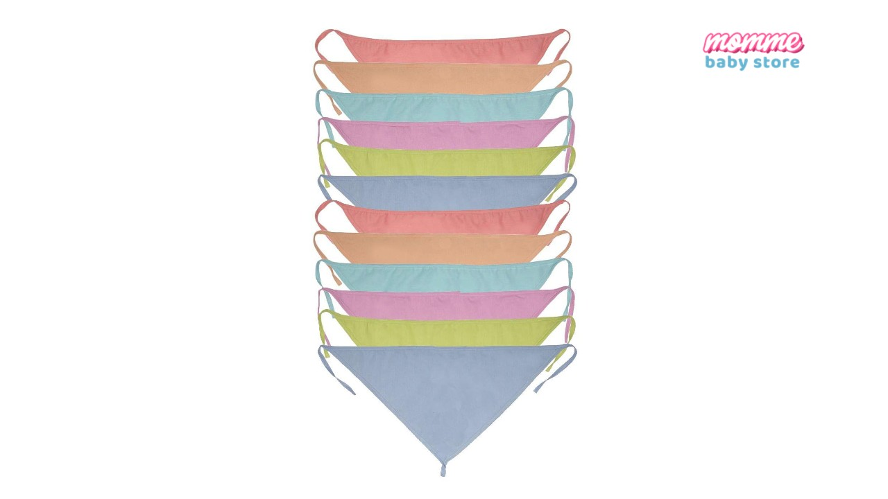 Momme Baby's Cotton Cloth Diapers/Langot Washable and Reusable Nappies (Multicolour, 0-6 Months) Pack of 12/24 (Plain Triangle)