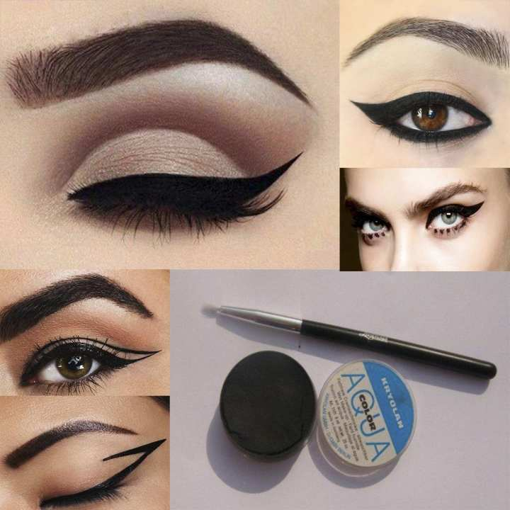 Wet Water Proof Aqua Eye Liner With an Extra Brush - 24 Hours Long Last Premium Quality Gel Liner Eye Liner