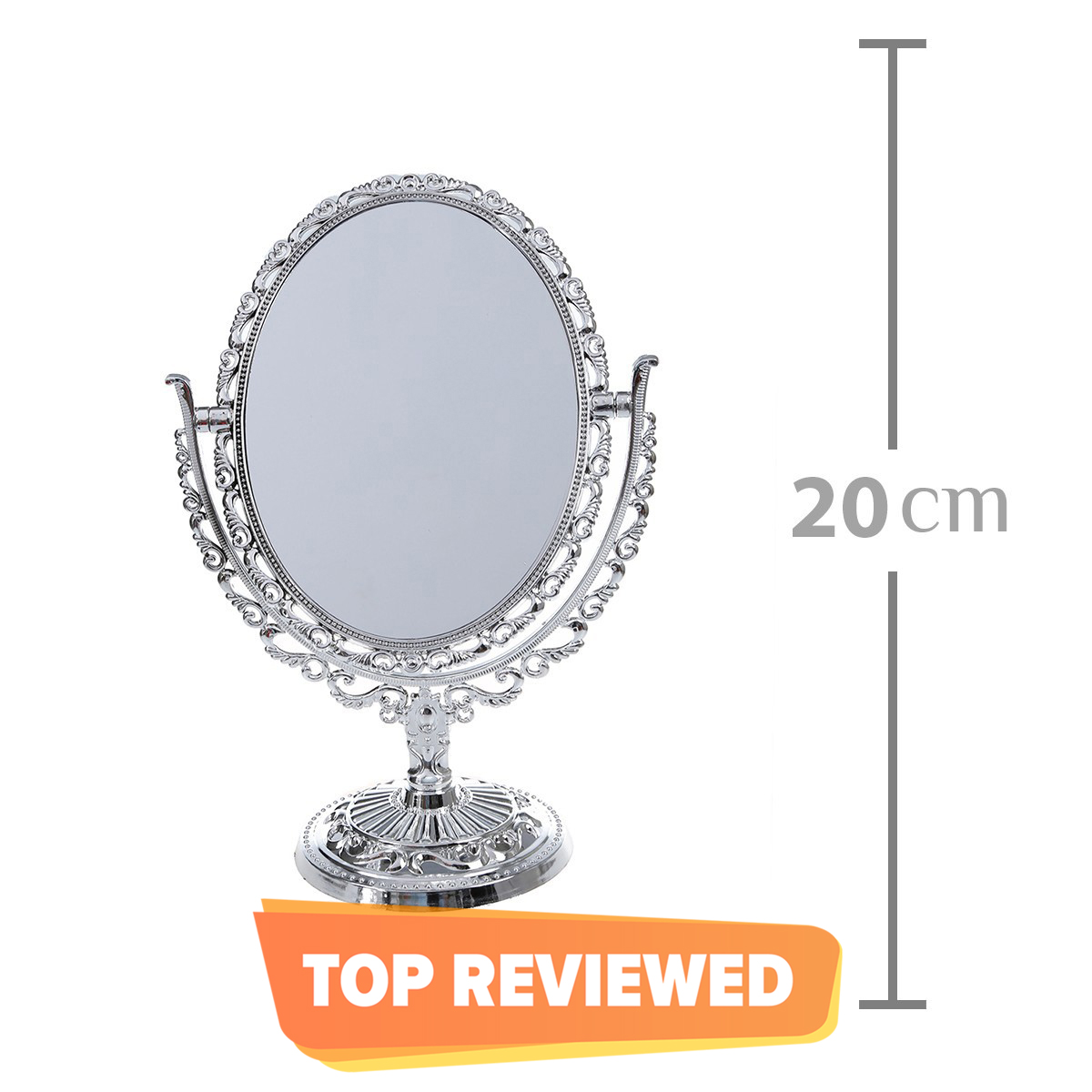 Makeup Mirror Cosmetic Mirror Adjustable Double Side Rare and Zoom View Mirror Silver