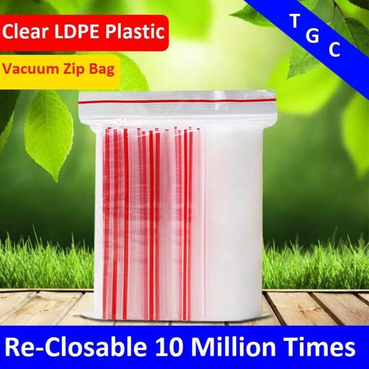 3x4 Inch Size 50 Pieces Re Sealable 10 Million Times Reclosable Vacuum Air Tight Clear LDPE Zipper Zip Lock Plastic Bag