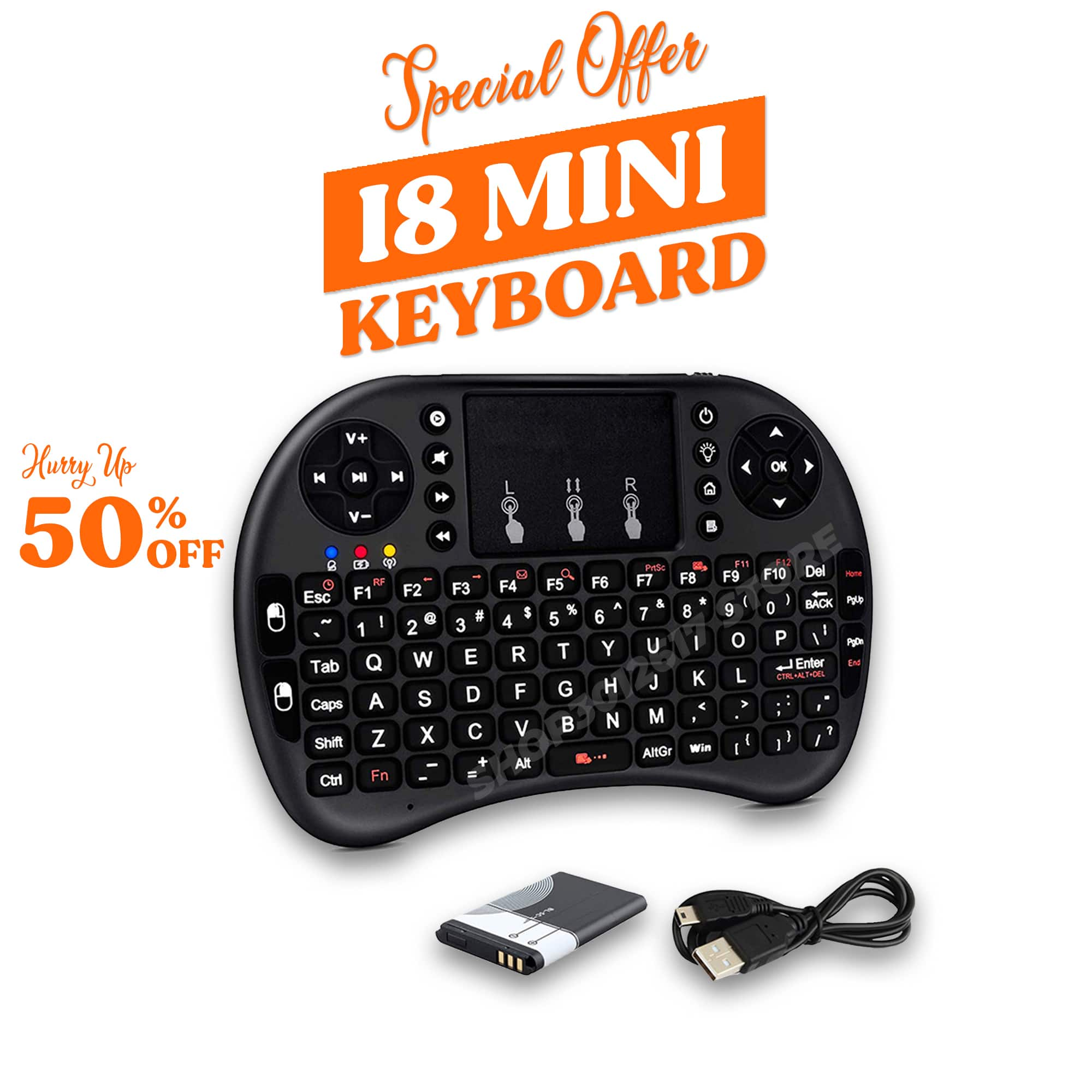 i8/RF-500 English Version 2.4GHz Wireless Keyboard Air Mouse with Touchpad Handheld Work with Android TV BOX Mini PC 18 for X96 mini X96Q H96 MAX A95X Android TV Box