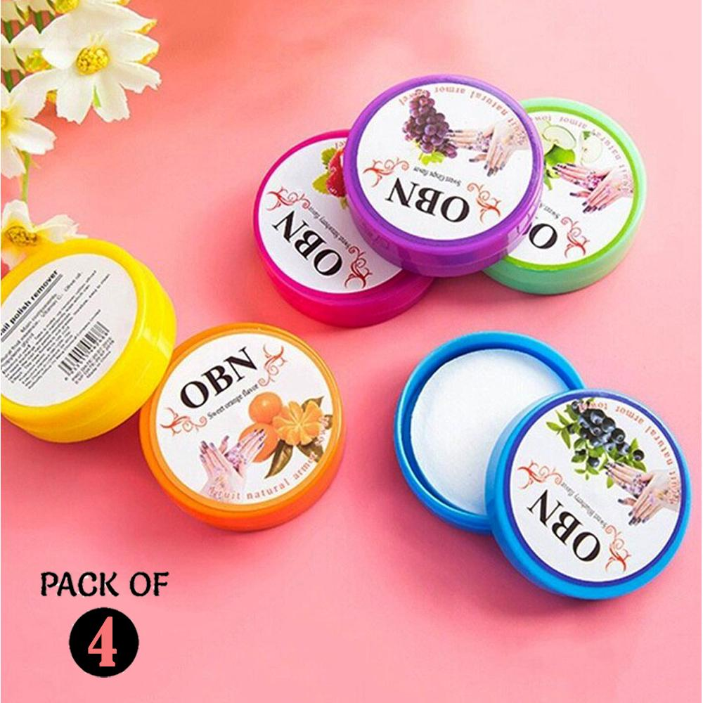 Pack of 4 Nail Polish Remover Pads-32 wipes-Fruit Flavor UV Gel Nail Polish  Remover Pads Gel Cleanser