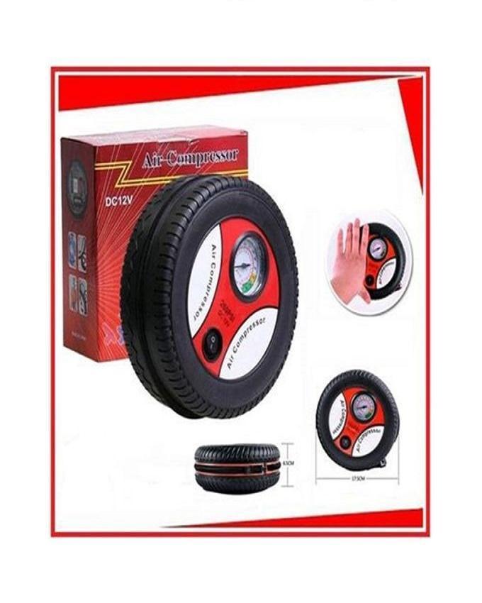 Car Tire Air Compressor Pump Inflator - 12 Volt - Black and Orange