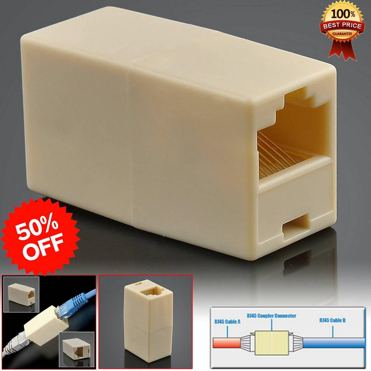 2X RJ45 Ethernet LAN Network Cables Joiner Coupler Socket Connector Extender