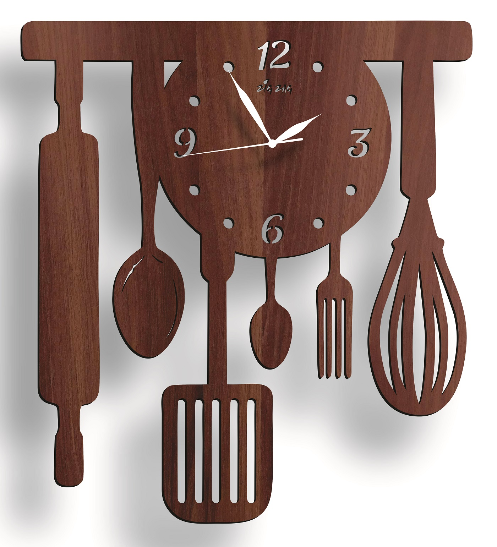 New Spoon Fork Style Kitchen 3D Wooden Wall Clock, Kitchen Decoration Idea