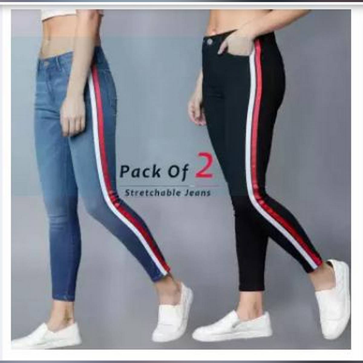 Pack Of 2 Ladies striped jeans SIde Tape Fasion AW