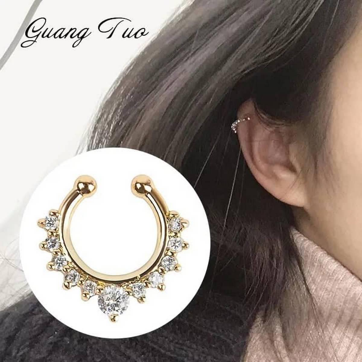 Korean Trendy Fashion Girls Golden Crystal Rhinestone  Ear Cuff Unique Style Jewellery Women Earrings -01 piece