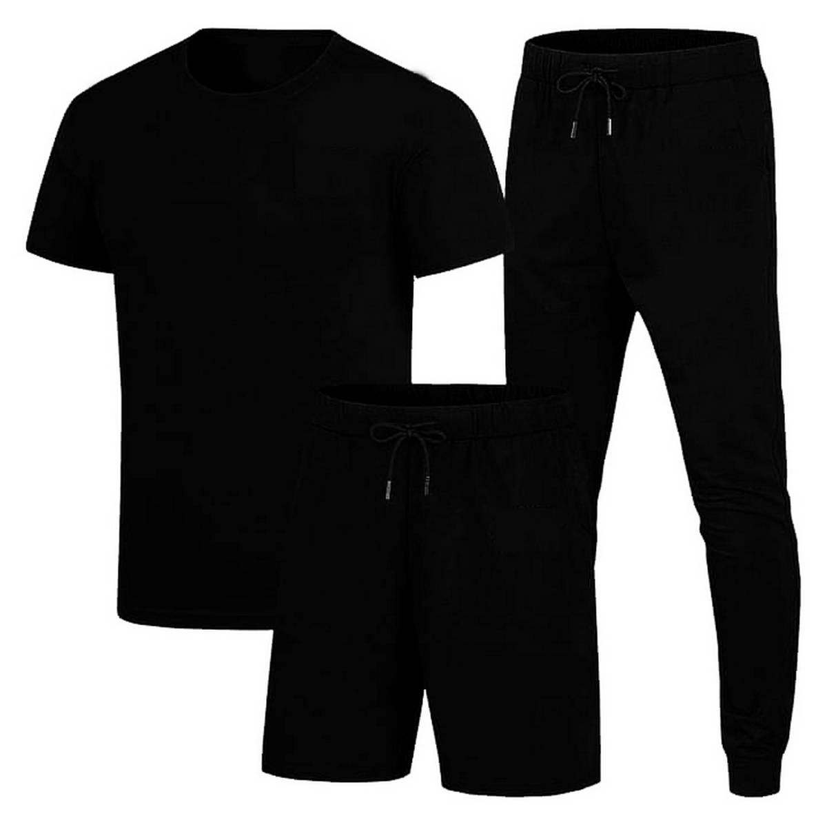 Plain Pack Of 3 New Design Summer Tracksuit Round Neck Half Sleeves T Shirts Top Quality Trouser And Short For Men Boys - Shez Fashion